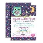 Night-Owl-Sleepover-Slumber-Party-Custom-Personalized-Birthday-Invitations-Twenty-5×7-Cards-with-20-White-Envelopes-by-AmandaCreation-0