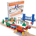 Orbrium-Toys-52-Pcs-Deluxe-Wooden-Train-Set-with-3-Destinations-Fits-Thomas-Brio-Chuggington-Melissa-and-Doug-Imaginarium-Wooden-Train-0