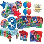 PJ-Masks-3rd-Birthday-Party-Supplies-8-Guest-Kit-and-Balloon-Bouquet-Decorations-0