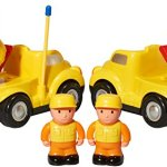 Pack-of-2-Construction-Cartoon-RC-Toys-Cement-Truck-and-Dump-Truck-Radio-Control-Toys-for-Kids-With-24Ghz-Frequency-So-Both-Can-Race-Together-0-1