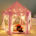 Pink-Princess-Castle-Play-Tent-for-Girls-Pink-Kids-Play-Tent-With-Star-LED-Lights-Indoor-and-Outdoor-0-0