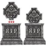 Prextex-Pack-of-4-Halloween-Dcor-22-RIP-Graveyard-Lightweight-Foam-Tombstone-Halloween-Decorations-RIP-0-2