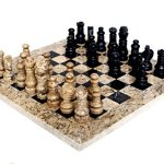 RADICALn-Handmade-Fossil-Coral-and-Black-Marble-Full-Chess-Game-Original-Marble-Chess-Set-0