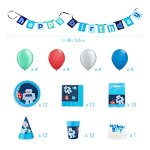 Robot-Party-Supplies-Set-for-12-Birthday-Party-Kit-includes-Cups-Plates-Napkins-Balloons-Hats-Favor-Bags-Candles-and-Banner-0-0
