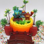 SKYLANDERS-Themed-Birthday-Cake-Topper-Set-Featuring-Skylander-Figures-and-Decorative-Themed-Accessories-0