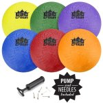 Set-of-6-85-Playground-Balls-with-Hand-Pump-and-Needles-by-Crown-Sporting-Goods-0