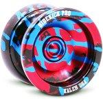 Sidekick-Yoyo-Pro-Black-Red-Blue-Splashes-Professional-Aluminum-UNresponsive-YoYo-0