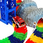 Super-Snap-Speedway-Deluxe-bend-and-flex-track-set-with-3-electric-cars-tunnels-bridge-elevator-ramp-track-merge-and-accessories-over-318-pieces-0-0
