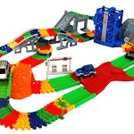 Super-Snap-Speedway-Deluxe-bend-and-flex-track-set-with-3-electric-cars-tunnels-bridge-elevator-ramp-track-merge-and-accessories-over-318-pieces-0