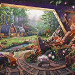Thomas-Kinkade-The-Disney-Collection-4-in-1-Multi-Pack-500-Pieces-Each-Puzzle-Sleeping-Beauty-Mickey-Minnie-Mouse-Snow-White-Seven-Dwarfs-and-Cinderella-0-1
