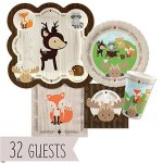 Woodland-Creatures-Baby-Shower-or-Birthday-Party-Tableware-Plates-Cups-Napkins-Bundle-for-32-0