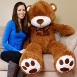 Yesbears-Giant-Teddy-Bear-5-Feet-Brown-Microfiber-Bowtie-Face-Ulra-Soft-0-0