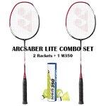 Yonex-Arcsaber-Lite-2-Rackets-Mavis-350-Yellow-Medium-Shuttecock-Combo-0