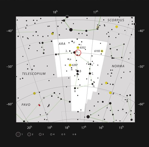 This chart shows the constellation of Ara (The Altar). Most of the stars visible to the naked eye on a clear night are shown. The location of the open cluster, IC 4651, which can be well seen in a medium-sized telescope, is marked with the red circle.