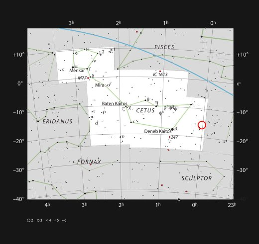 This chart shows the position of the faint, galaxy WLM in the constellation of Cetus (The Sea Monster). Most of the stars visible to the naked eye on a clear and dark night are shown. The galaxy itself has a very low surface brightness, it was discoved photographically in the early twentieth century and is very hard to spot visually.