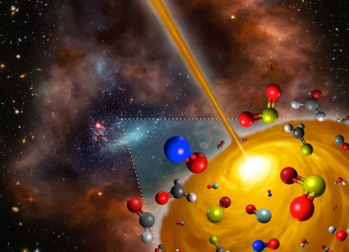 This artist's impression shows the molecules found in a hot molecular core in the Large Magellanic Cloud using ALMA. This core is the first such object to be found outside the Milky Way, and it has significantly different chemical makeup to those found in our own galaxy. The figure is a derivative work based on material from the following sources: ESO/M. Kornmesser; NASA, ESA, and S. Beckwith (STScI) and the HUDF Team; NASA/ESA and the Hubble Heritage Team (AURA/STScI)/HEI.