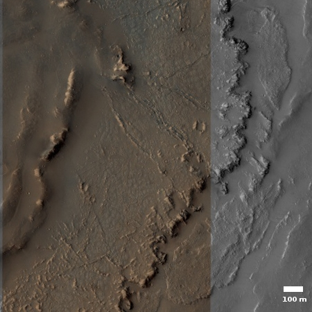 A section of the floor of Marineris Valles.
