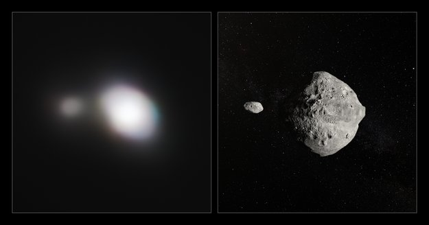Side by side observation and artist's impression of Asteroid 199