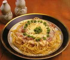 Resep Spaghetti With Smoked Beef And Peas