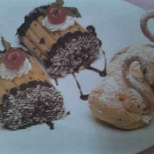 Resep Choux Roll And Chocolate Pudding With Mango Sauce