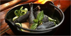 One of the most expensive chicken dish, Ayam cemani chicken meat, not only the feather but the meat is in black too.