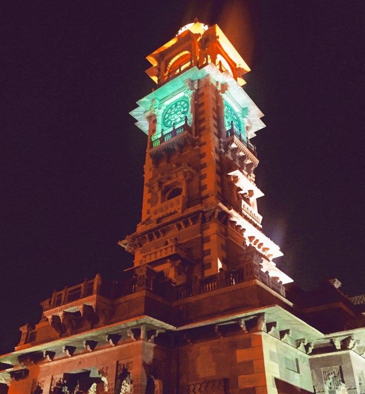 clock tower lights up at night for the inauguration of rajasthan folk festival (RIFF)