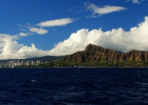 Diamond Head keeps a watchful eye over Waikiki. As seen from the blurry eye of the Na Hoku II.