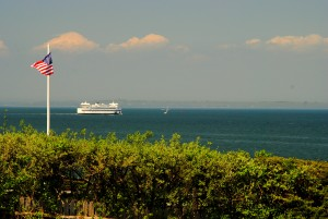 Here's the ferry we brought the camper over on. We saw it out offshore headed to the cape, in the background.