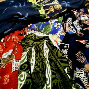 "A few of my Aloha Shirts. Flowers and tikis are culturally appropriate. The Red Sox Aloha Shirt is not culturally appropriate unless you are dressing up as two-time World Series Winner Shane Victorino, ""The Flyin' Hawaiian""."