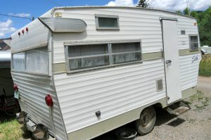 Here's the Shasta camper we bought. I can't wait to get to work sprucing her up!