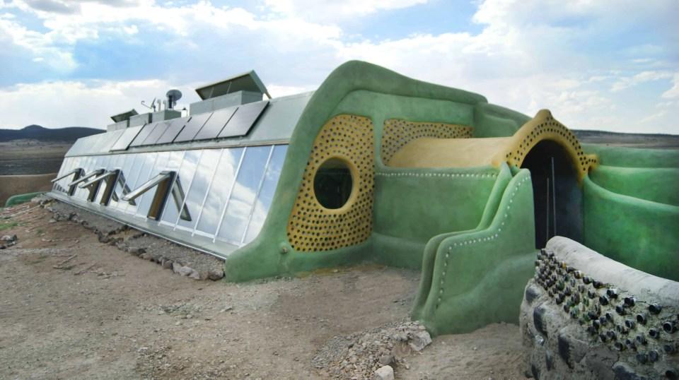 Earthship exterior shot New Mexico