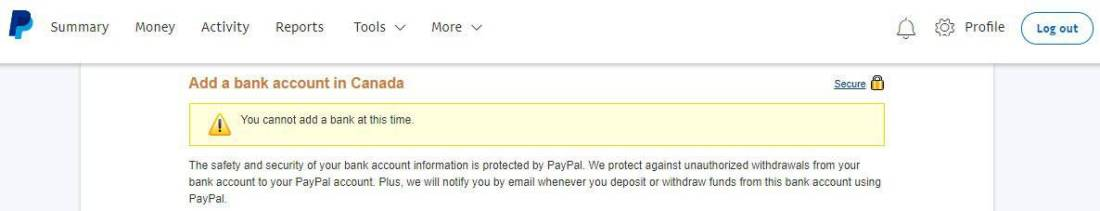 Can't add Bank to PayPal