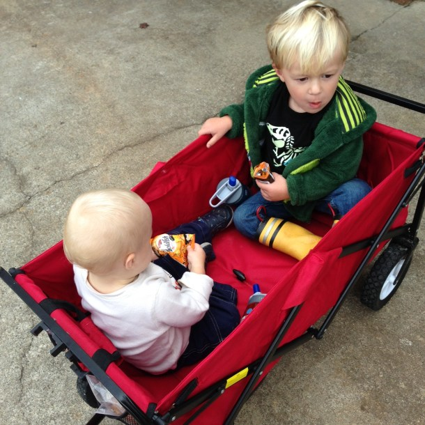 boys wagon ride