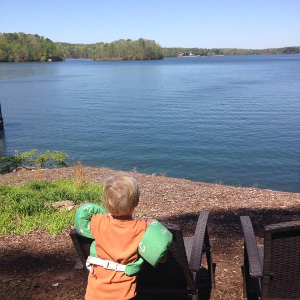 beau overlooking lake