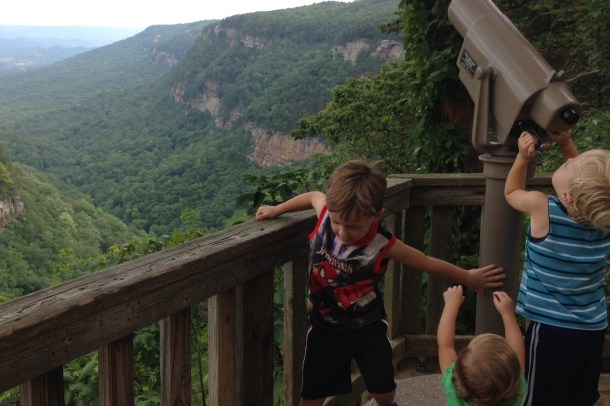 cloudland canyon view with kids