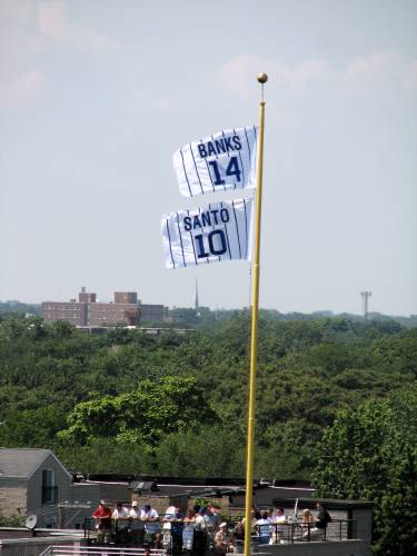 Banks and Santo flags at Wrigley Field