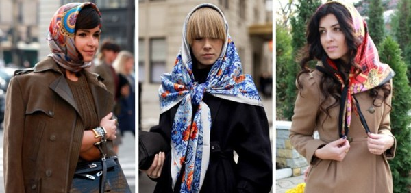 платок под пальто