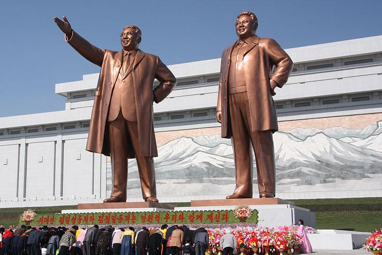 The statues of Kim II Sung and Kim Jong II are located on Mansu Hill in Pyongyang. Photo provided by J.A. De Roo