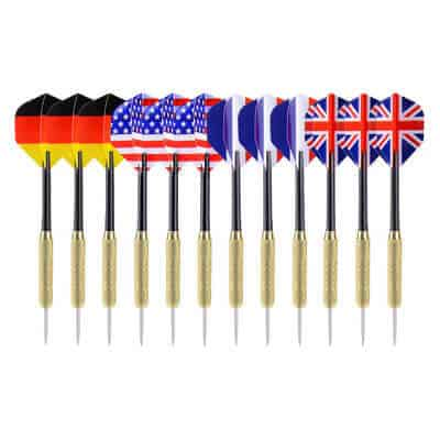 Ohuhu Steel Tip Darts with National Flag Flights