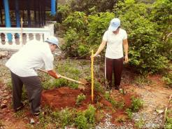 Thầy Sen trồng cây