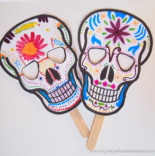 10 awesome day of the dead crafts for kids for Day of the dead skull mask template