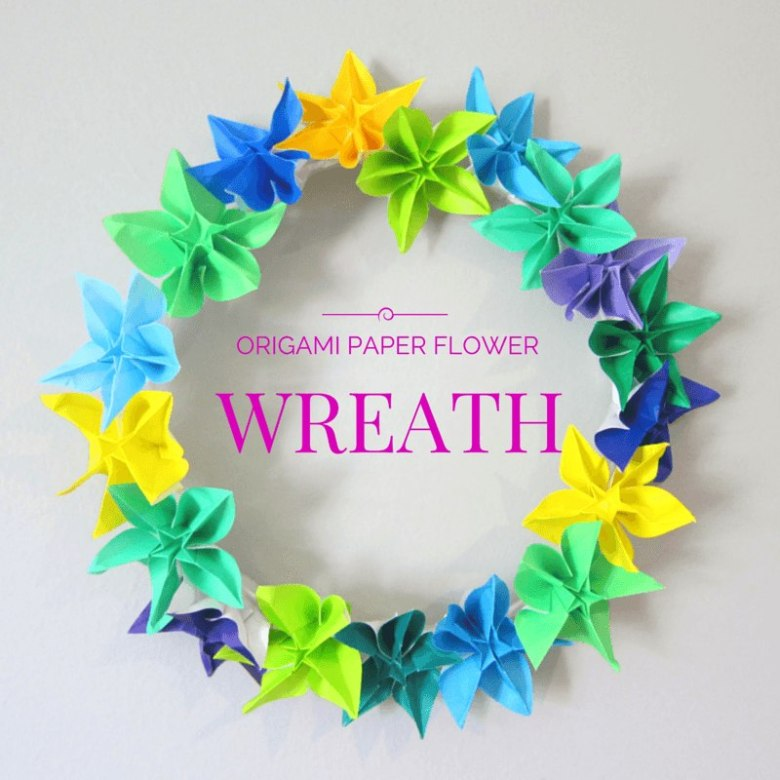 Origami Paper Flower Wreath Tutorial from Hodge Podge Craft