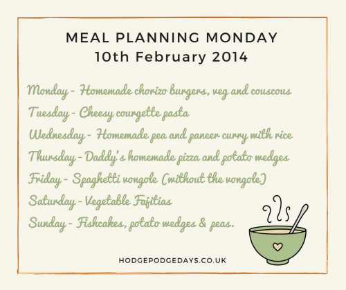 Meal Planning Monday w/c 10th February 2014