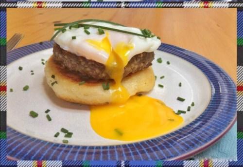 Recipe: Haggis, potato cake & poached egg stack