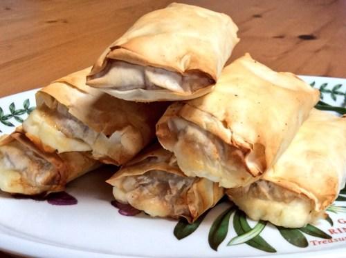 Halloumi, caramelised onion & filo rolls