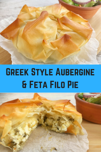 Greek Style Aubergine and Feta Filo Pie