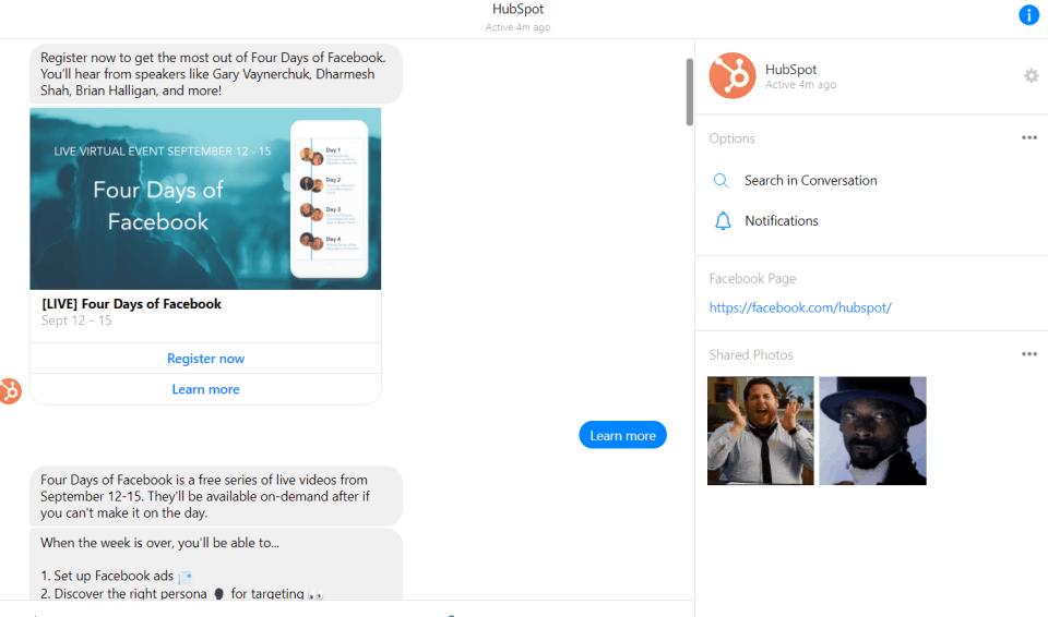 Hubspot ditches landing pages for webinar sign ups via Facebook Messenger