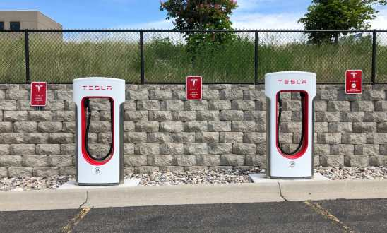 Empty Tesla Charging Station