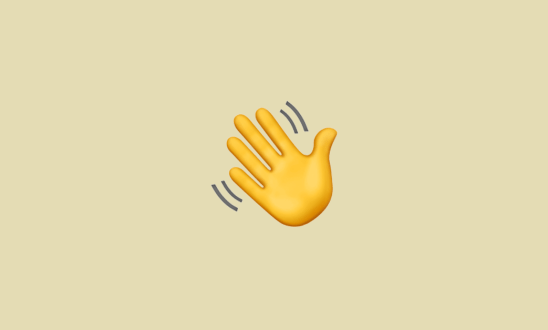 Yellow hand wave emoiji on tan background