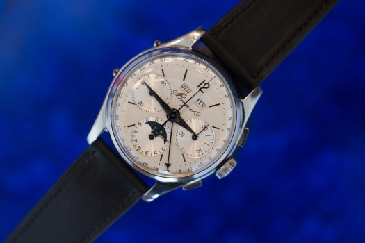 <p>An unusual Breguet triple calendar chronograph, with moonphase, using the rare Valjoux 88 caliber; also unusual for its steel case. Coming up in the Geneva Watch Auction: 7.</p>
